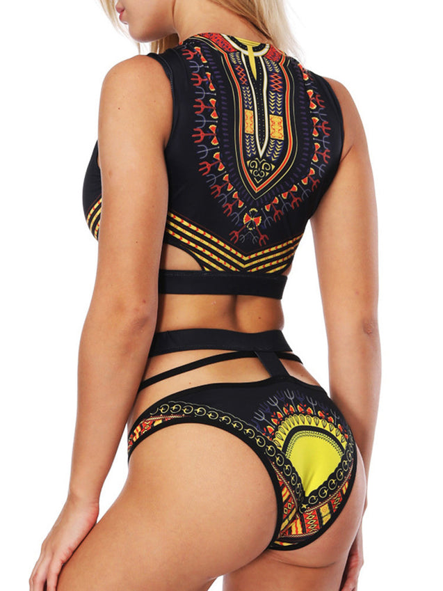Digital Printing Retro Hollow Out High Waist Sexy Tankinis Swimsuits For Women