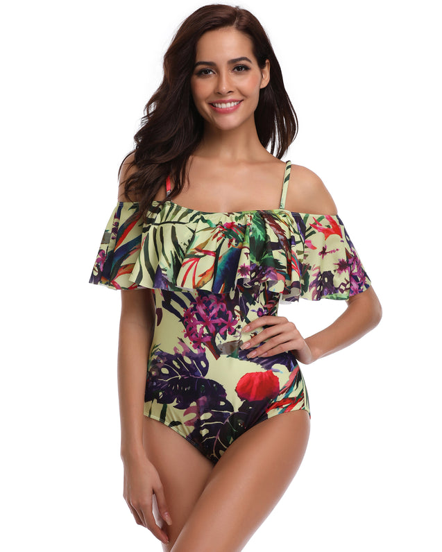 Off Shoulder Printed High Elastic Figure Flattering One Piece Swimsuits For Women