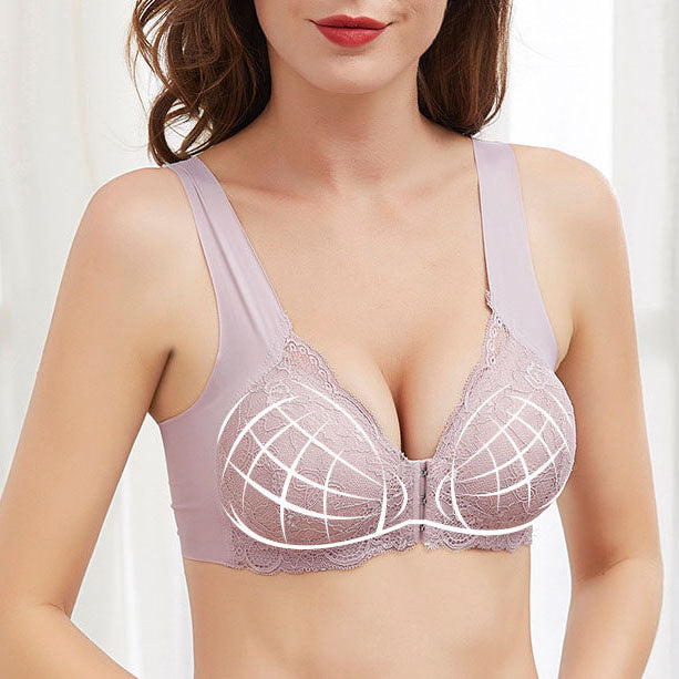 Front Closure Lace Comfy Wireless Bra