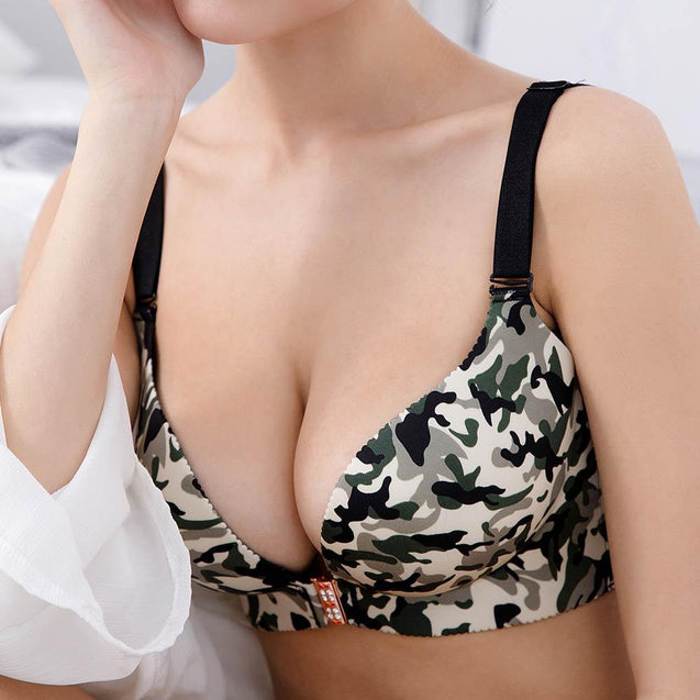 Front Closure Wireless Print Push Up Soft Bras