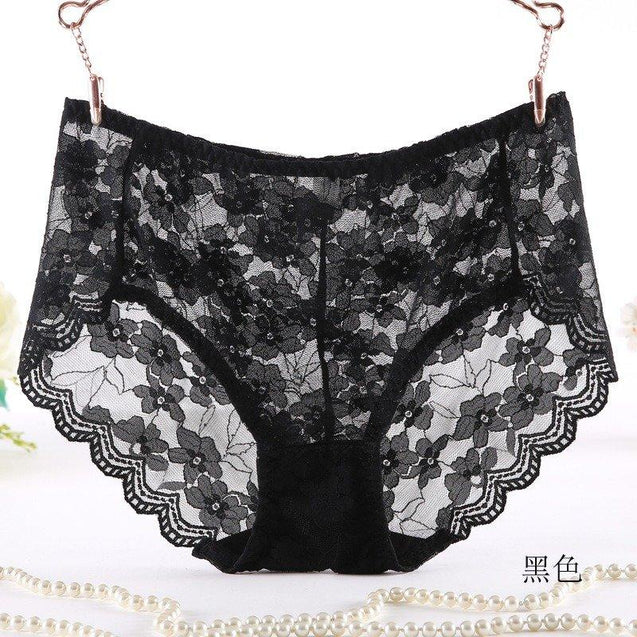 Plus Size Lace Breathable Cotton Crotch Mid Rise Panties