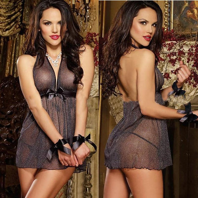 Plus Size Sexy Lingerie Deep V-Neck Sleeveless Babydoll Negligee