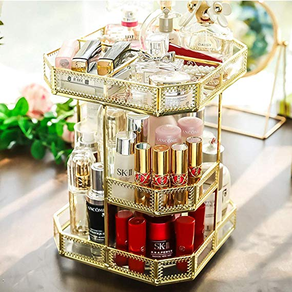 MAKEUP ORGANIZER-360 DEGREE ROTATING!SUITABLE FOR DRESSING TABLE, BEDROOM, BATHROOM