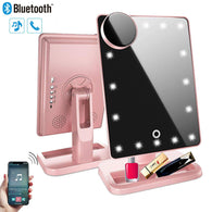 Makeup Vanity Mirror with Lights,Removable 10x Magnification,Rechargeable Touch Dimmable Bluetooth Mirror with 20 LED,180 Rotation,Lighted Up Cosmetic Mirror for Home Tabletop Travel (Rose Gold)