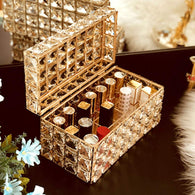 Weq Cosmetic Case Girl's Favorite Gift Luxury Crystal Lipstick Cosmetic Storage Flip Rack Bedroom Desktop Storage Box Dressing Table Shelf (Color : Gold, Size : 22.5X12X12CM)