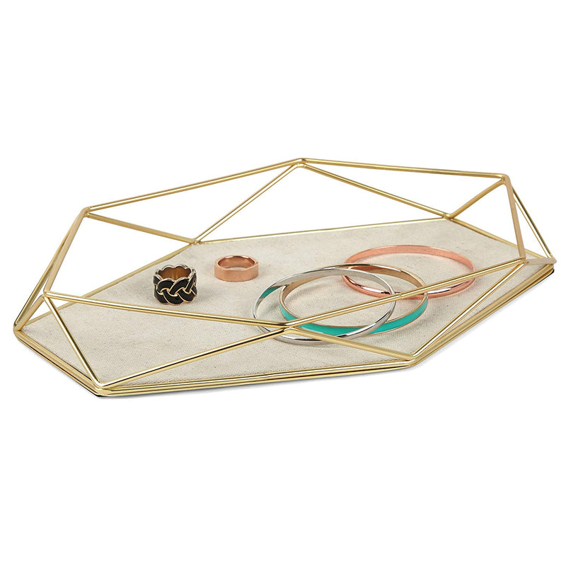 Tray, Geometric and Brass Plated Jewelry Storage