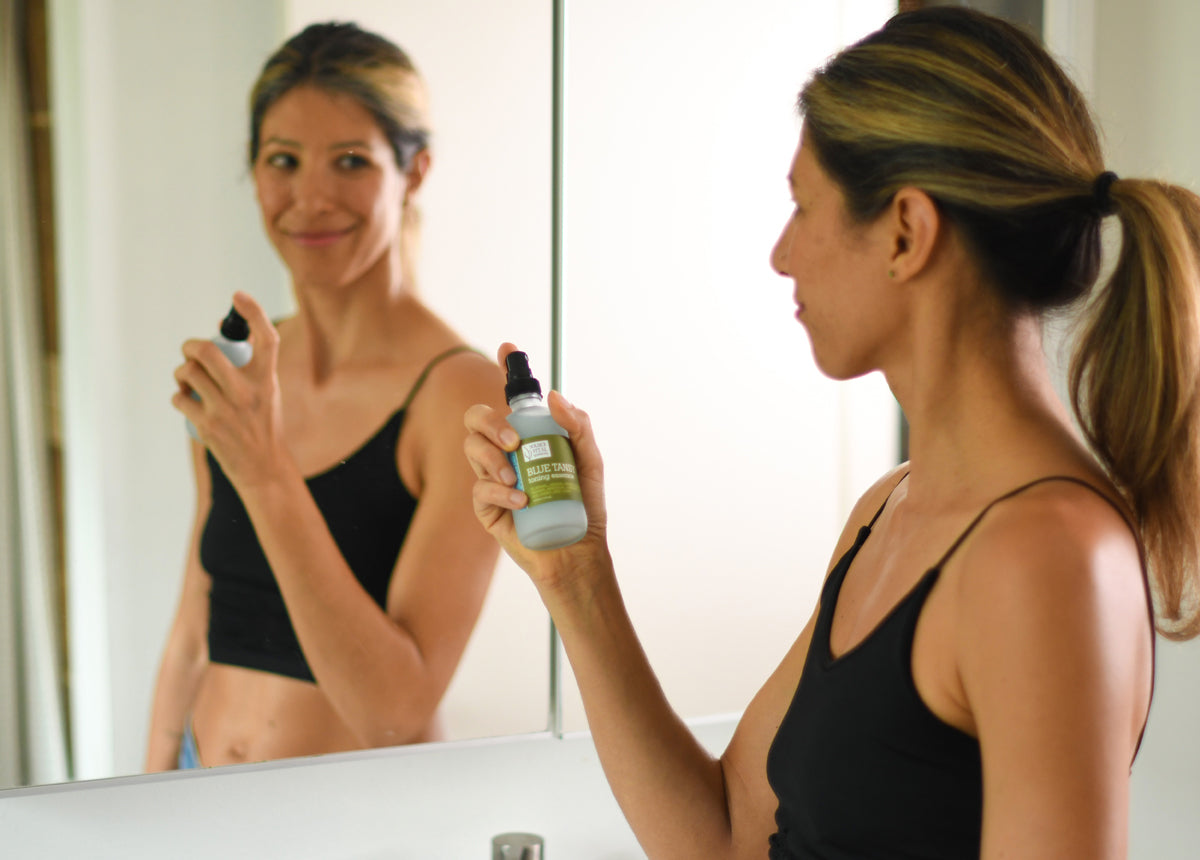 Woman happy about her skin care routine