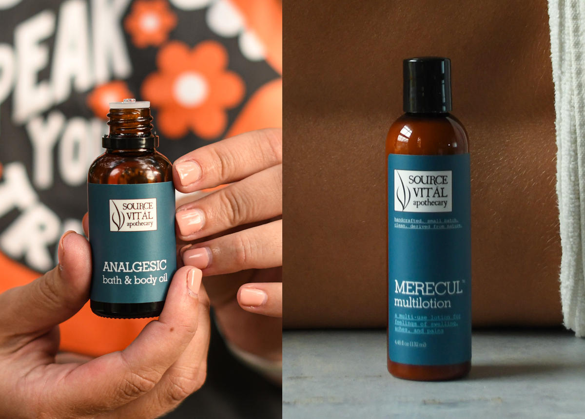 Analgesic Bath & Body Oil and Merecul MultiLotion by Source Vitál
