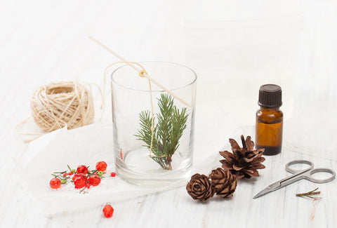 DIY holiday Candles with Essential Oils