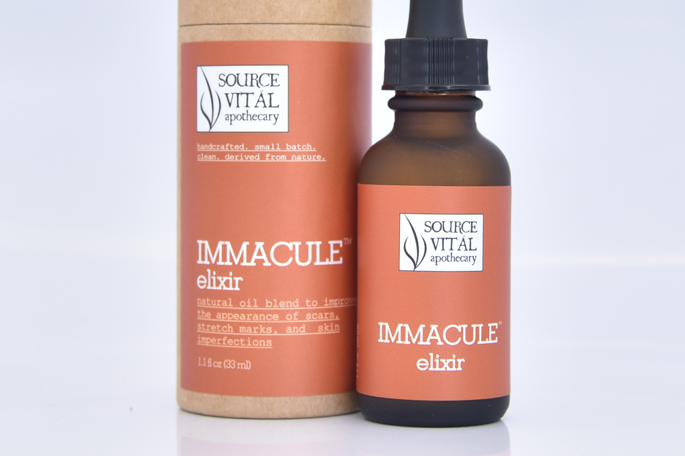 Immacule Natural Elixir by Source Vital to improve the look of scars and stretch marks
