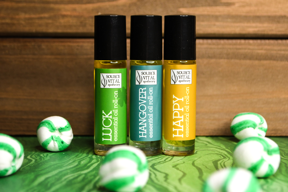 Essential Oil rollerballs for luck, hangover relief and happiness by Source Vitál Apothecary