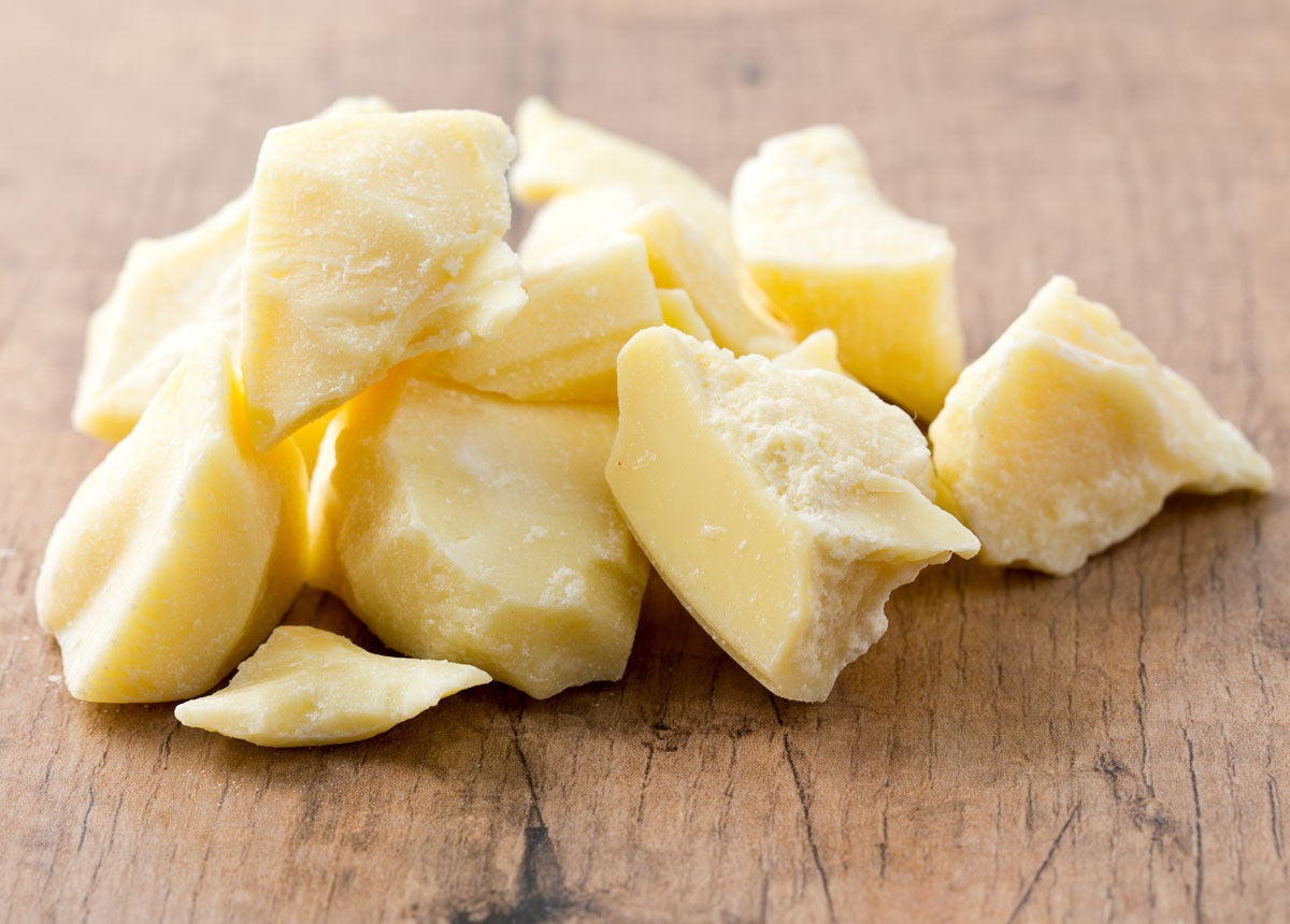 Raw cocoa butter ingredient for moisturizer and body products