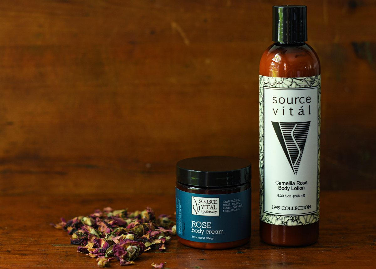 rose-scented body moisturizers by Source Vital Apothecary