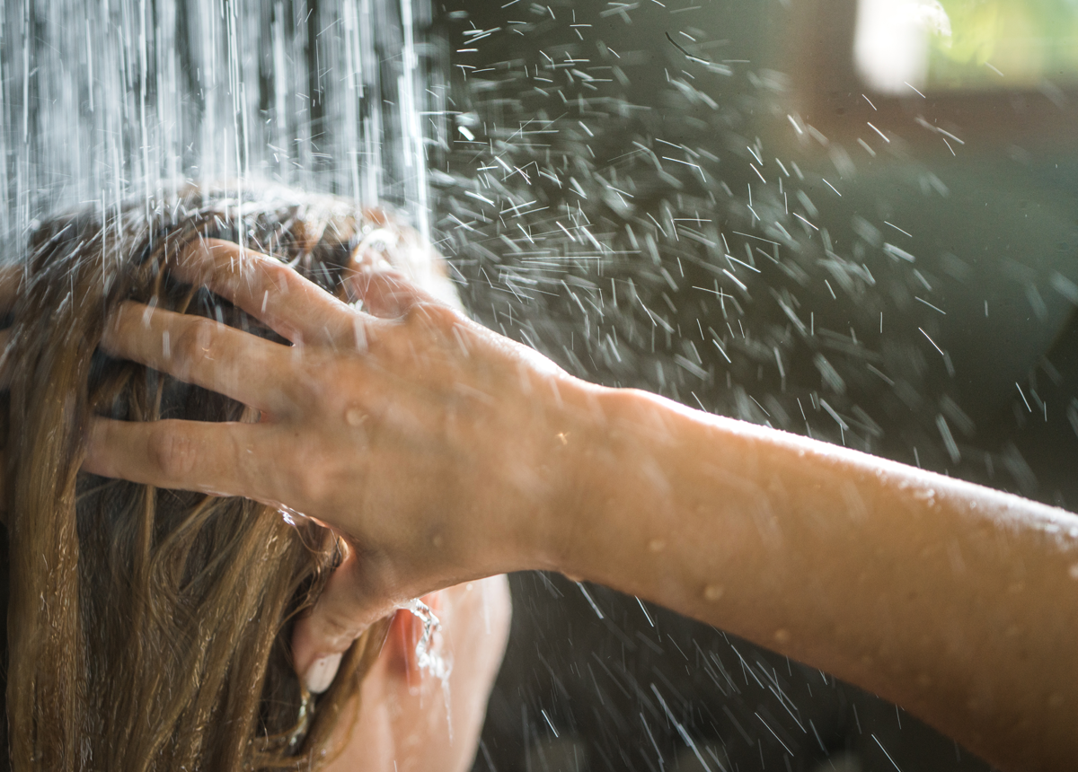 shampooing hair in the shower
