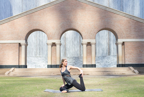 Yoga by the Water Wall in Houston, Texas