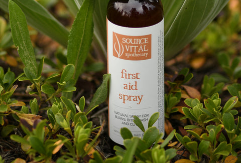 Natural First Aid Spray to care for minor cuts, buns, bruises & insect repellent by Source Vital Apothecary