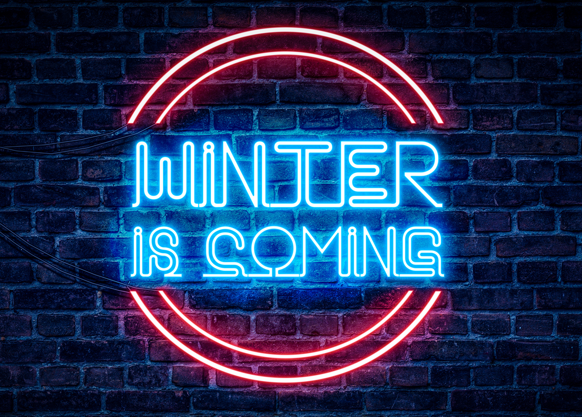 winter is coming neon sign