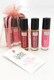 Valentines Day fragrance gift set with three all-natural aromatherapy rollerballs