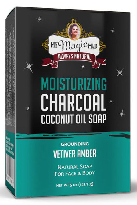 Moisturizing Charcoal and Coconut Oil Face and Body Bar Soap in Grounding Vetiver Amber by My Magic Mud