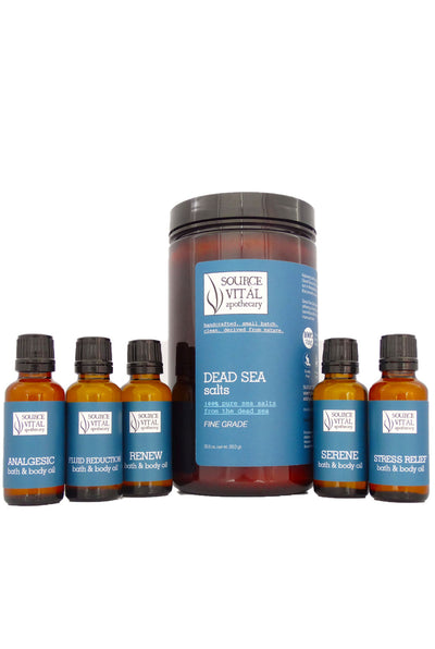 Dead Sea Salts + Natural Bath Oil Complete Set - 5 Natural Bath & Body Oils Included