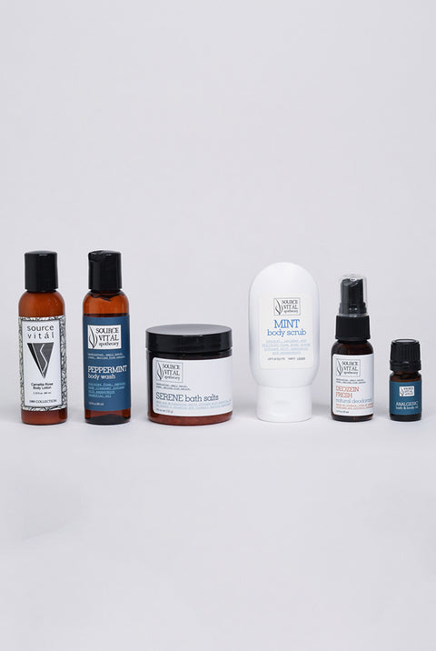 bath & body starter kit sampler with natural bathing and grooming products by Source Vitál Apothecary