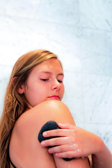 Get clean and exfoliated with this Konjac Charcoal Body Sponge
