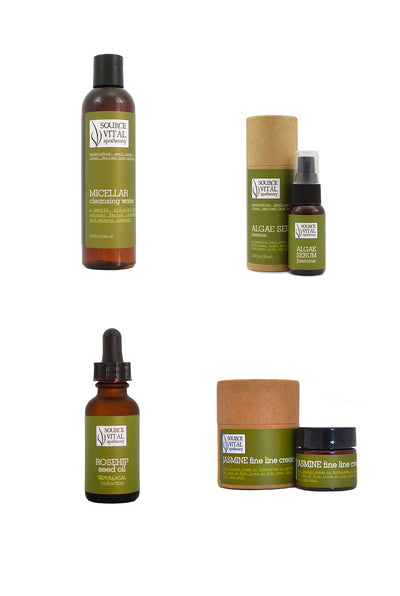 4 Product Crow's Feet Kit - Natural Skin Care Collection to Diminish the Appearance of Crow's Feet and Eye Wrinkles