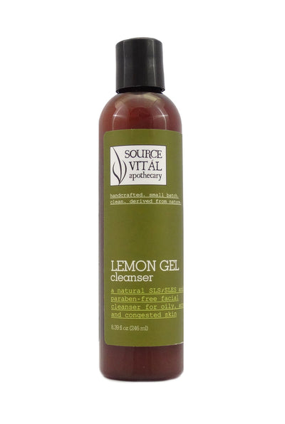 Natural Lemon Gel Facial Cleanser for Acne, Congested, Oily Skin
