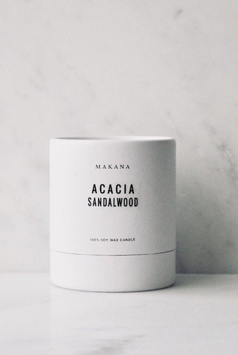 Acacia Sandalwood 100% Soy Wax Candle by Makana