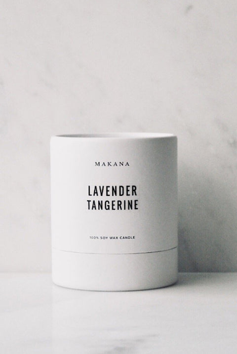 Lavender tangerine scented 100% soy wax candle by Makana