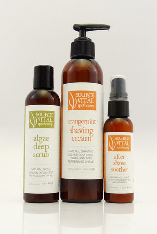 Men's Natural Shaving Trio Kit - Facial Cleanser/Exfoliant, Shaving Cream, & After Shave