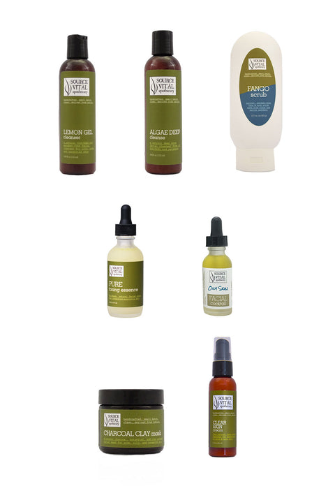 7 Product Natural Skin Care Kit to Improve Appearance of Oily and Congested Skin