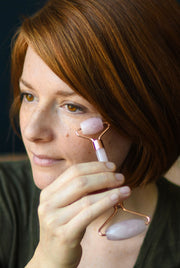 Rose Quartz Facial Tool for Mature, Tired Skin