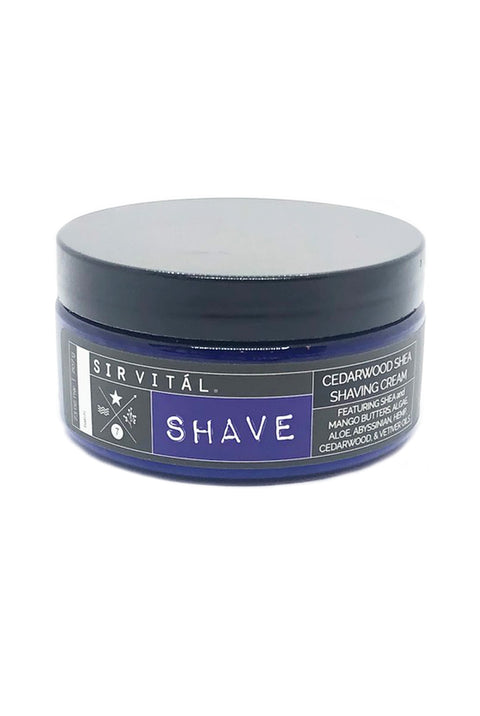 SHAVE from Sir Vital. Cedarwood Shea Shaving Cream - Natural and Effective for an Easy Shave