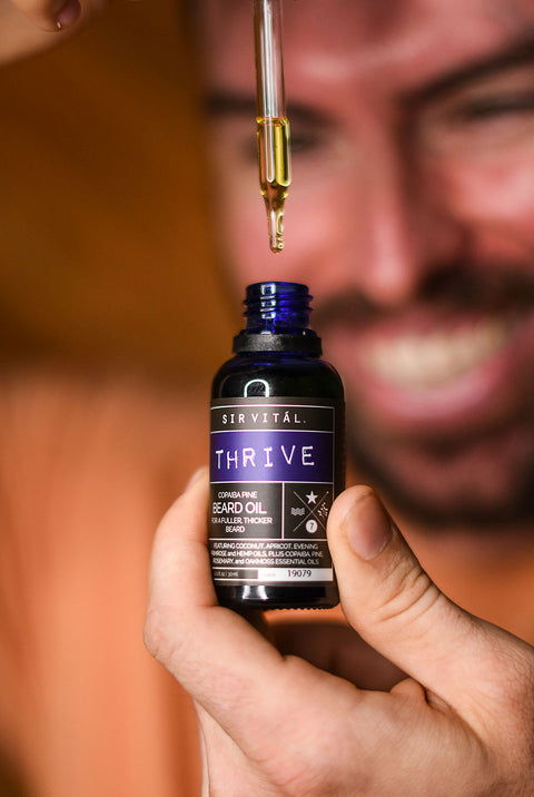 Help Your Whiskers Grow Stronger and Gain a Fuller Beard with Sir Vital's Thrive Beard Oil