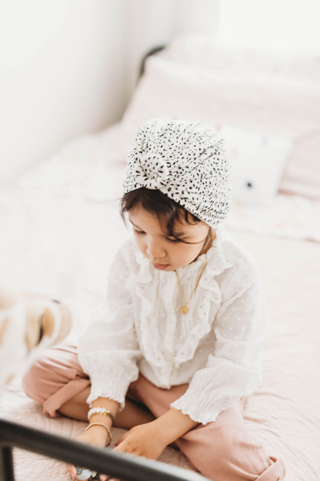 Knotted Headwrap | Black Spots on Ivory