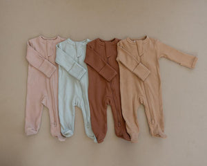 Organic Cotton Zipper Footie | Pale Pink