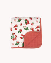Load image into Gallery viewer, Cotton Muslin Quilt | Strawberry Patch