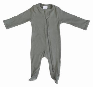 Organic Cotton Zipper Footie | Green