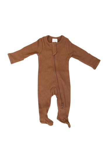 Organic Cotton Zipper Footie | Rust