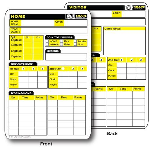 Ref Smart 2-Sided Football Game Card