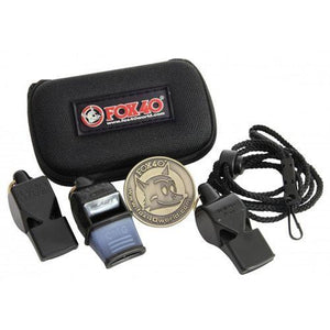 Fox 40 Three Pack Whistle Kit with Lanyard, Flipping Coin and Case