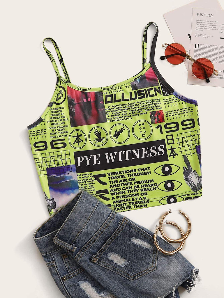 Neon Green Newspaper Print Cami Top - Hype Fashion