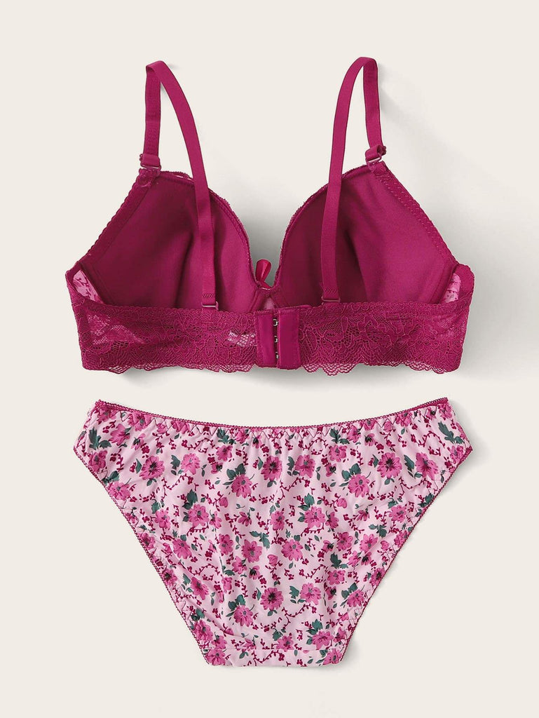 Ditsy Floral Print Underwire Lingerie Set - Hype Fashion