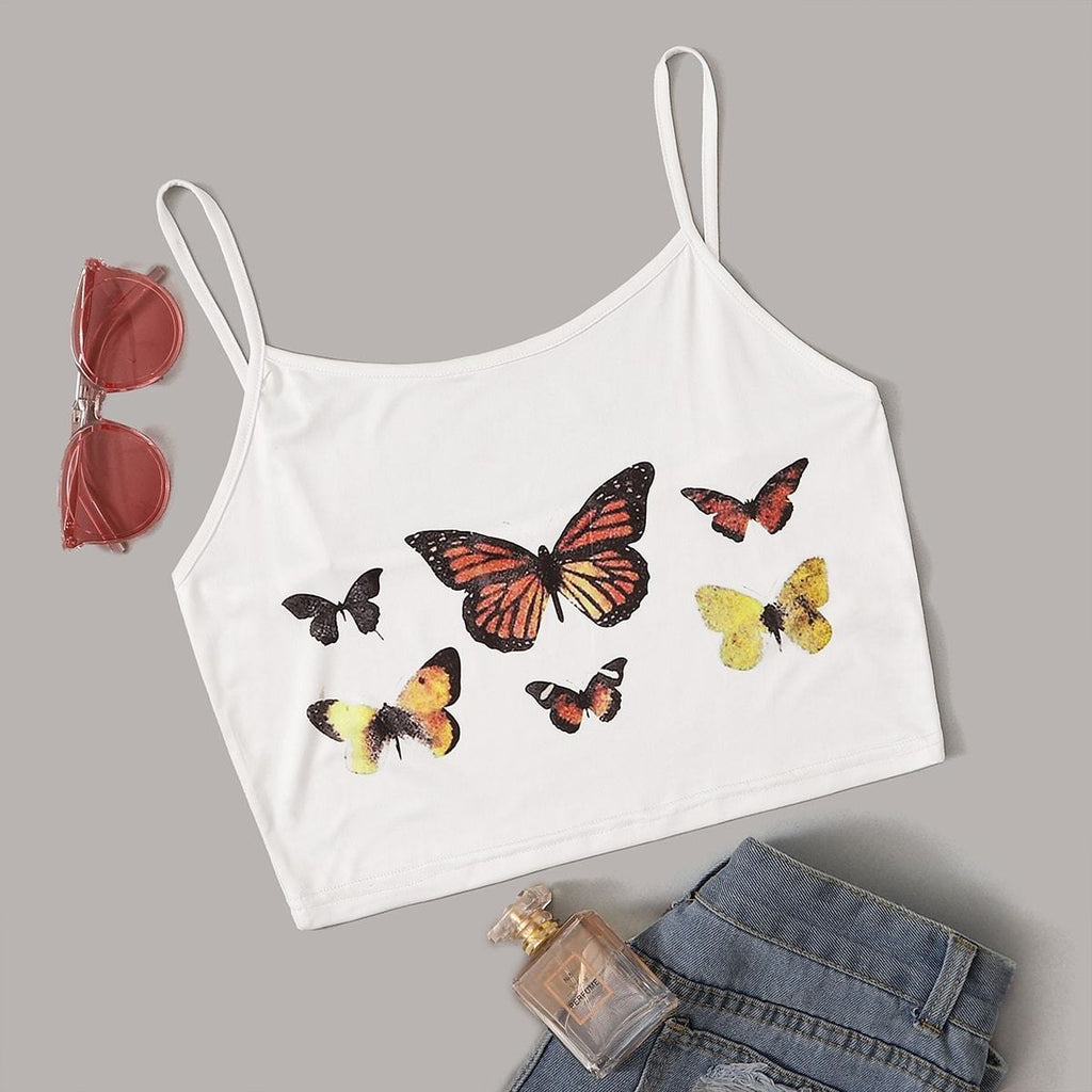 Butterfly Print Crop Cami Top - Hype Fashion