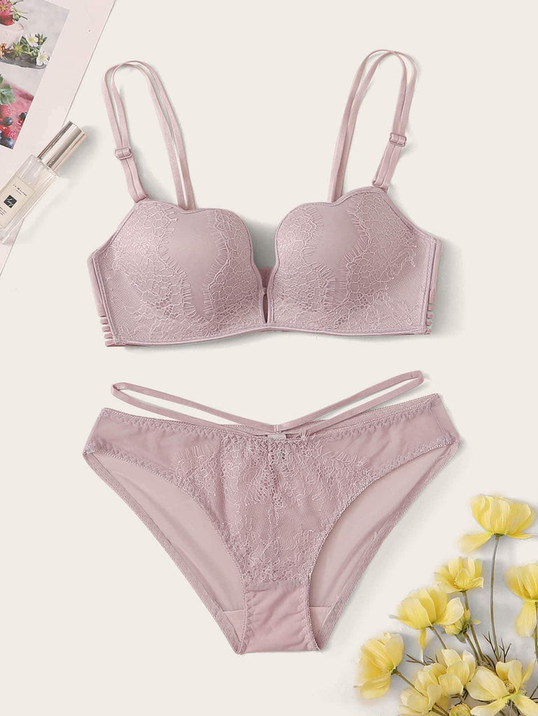 Eyelash Lace Lingerie Set - Hype Fashion