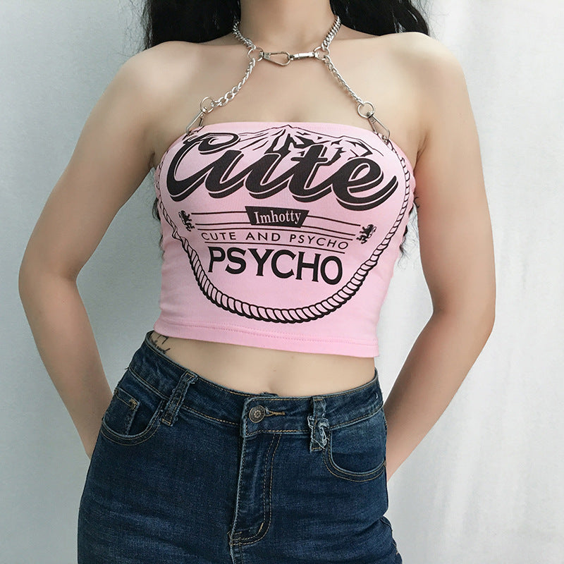 Chain Letter Crop Top - Hype Fashion