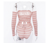 Femme Long Sleeve Striped Bodysuit - Hype Fashion