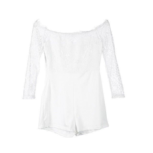Lacy Off Shoulder Sexy Romper - Hype Fashion