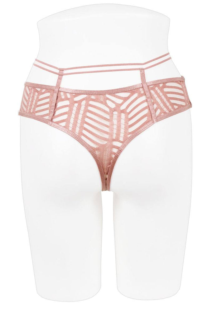 Ladies high waist jacquard mesh thong - Hype Fashion